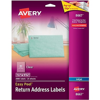 Avery® 8667 Return Address Labels with Easy Peel, Clear, Inkjet, 1/2