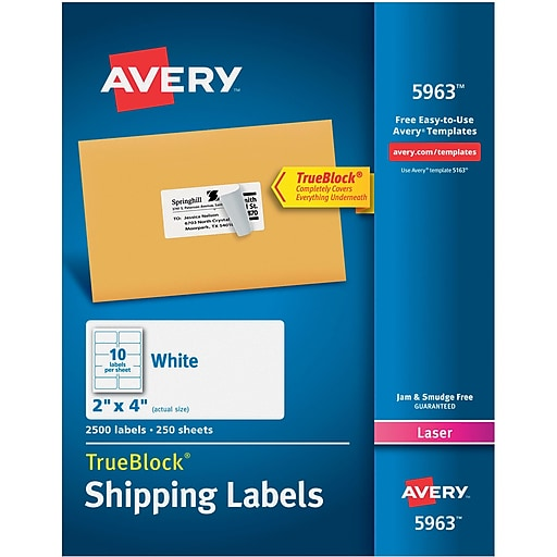 Avery 2 X 4 Laser 5963 Shipping Labels White With Trueblock