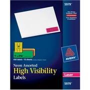Avery 5979 Neon Laser Address Labels, 1 inch X 2 5/8 inch , Assorted Colors, 450/Box (5979/08208) by