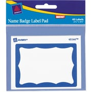 "Avery Name Badge Label Pad, Portable Label Pads, Blue Border, 3"" x 4"", 40/Pk"