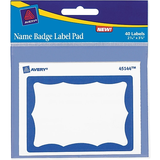 avery name tag label pads 2 7 16 x 3 3 8 blue border 40 pack