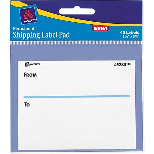 avery to from shipping label pad 2 5 8 x 3 3 4 40 pack staples