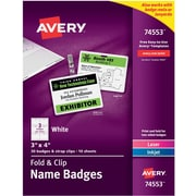 """Avery® Fold & Clip Badges, 3"""" x 4"""", 30/Pack"""