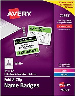 Avery® Fold & Clip Badges, 3