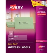 """Avery® 5661 Clear Laser Address Labels with Easy Peel®, 1"""" X 4"""", 1,000/Box"""