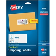 "Avery 2"" x 4"" Inkjet Shipping Labels with TrueBlock™, White, 250/Box (8163)"