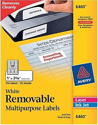 Avery® Removable Inkjet/Laser Labels, 750/Pack (6460)