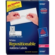 "Avery® 55160 Repositionable White Laser Address Labels 1"" x 2-5/8"", 3,000/Box"