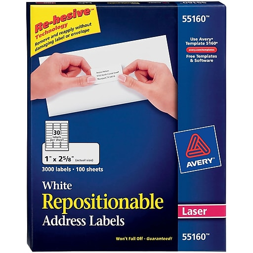 Avery® 55160 Repositionable White Laser Address Labels 1\