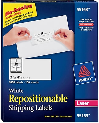 Avery® 55163 Repositionable, White Laser Shipping Labels 2