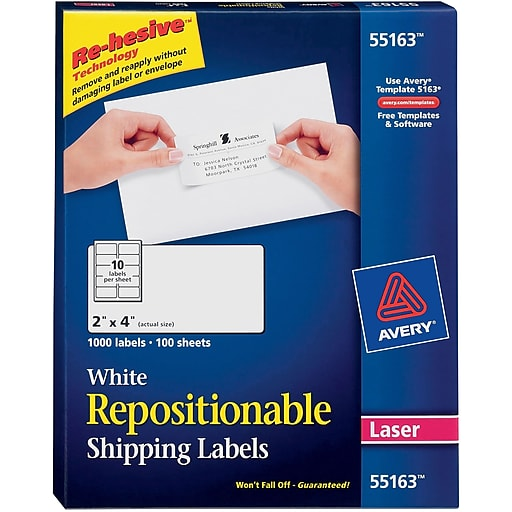 avery 55163 repositionable white laser shipping labels 2 x 4