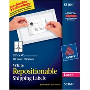 "Avery® 55164 Repositionable White Laser Shipping Labels 3-1/3"" x 4"", 600/Box"