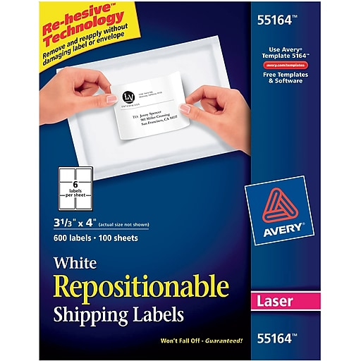 avery 55164 repositionable white laser shipping labels 3 1 3 x 4
