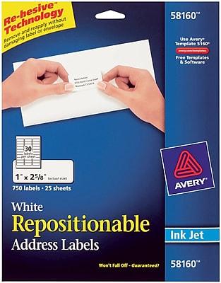 Avery® 58160 Repositionable White Inkjet Address Labels 1