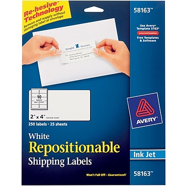 Avery® 58163 Repositionable White Inkjet Shipping Labels 2