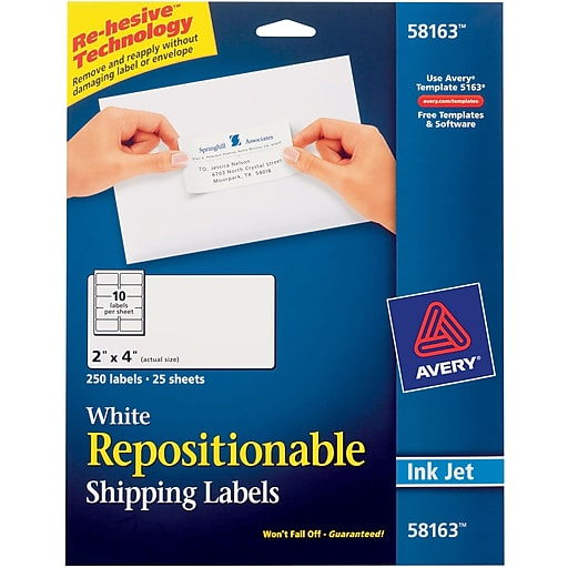 Avery 58163 Repositionable White Inkjet Shipping Labels 2 X 4