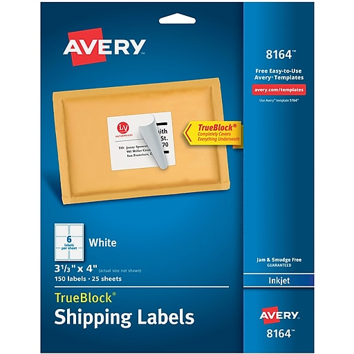 avery 3 1 3 x 4 inkjet shipping labels with trueblock white 150