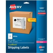 "Avery® 5265 White Laser Full Sheet  Labels, with TrueBlock™,  8-1/2"" x 11"", 25/Box"