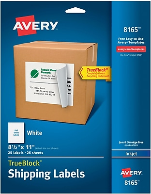 Avery® 8165 White Inkjet Full Sheet Shipping Labels with TrueBlock™, 8-1/2