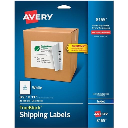 avery 8165 white inkjet full sheet shipping labels with trueblock