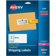 Avery® Laser Shipping Labels with TrueBlock™ Technology, White, 10/Per Sheet, 250/Pack (05263)