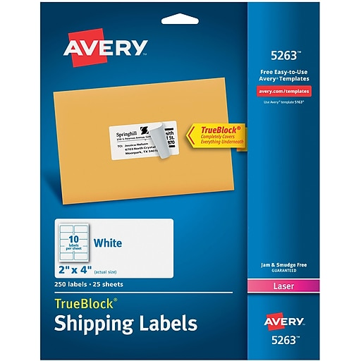avery white laser shipping labels with trueblock 2 x 4 250 box