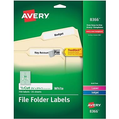 Avery Permanent File Folder Labels with TrueBlock, 2/3