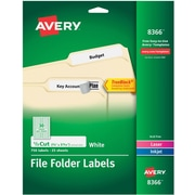 "Avery Permanent File Folder Labels with TrueBlock, 2/3"" x 3-7/16"", White, 750/Pack (08366)"