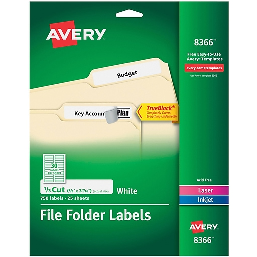 avery permanent file folder labels with trueblock white 750 pack