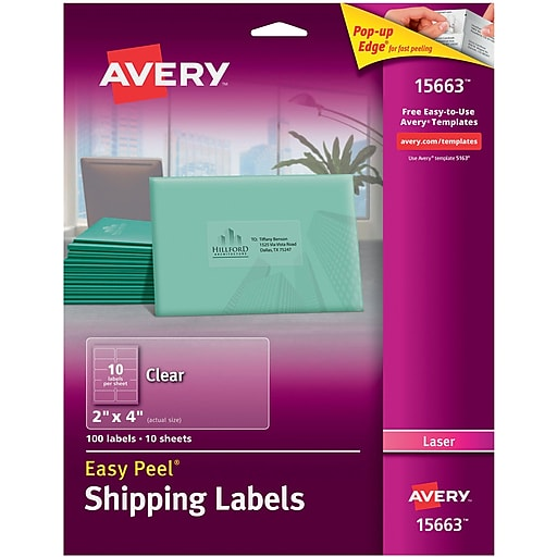 avery 15663 clear laser shipping labels with easy peel 2 x 4