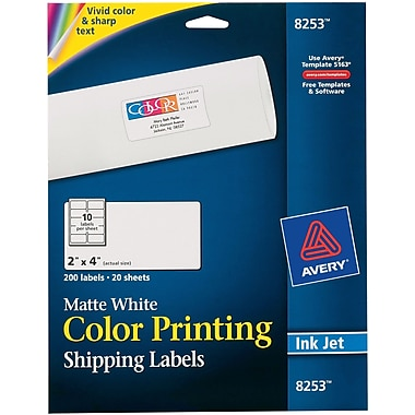 Avery® 8253 Color Printing Matte White Inkjet Shipping Labels, 2