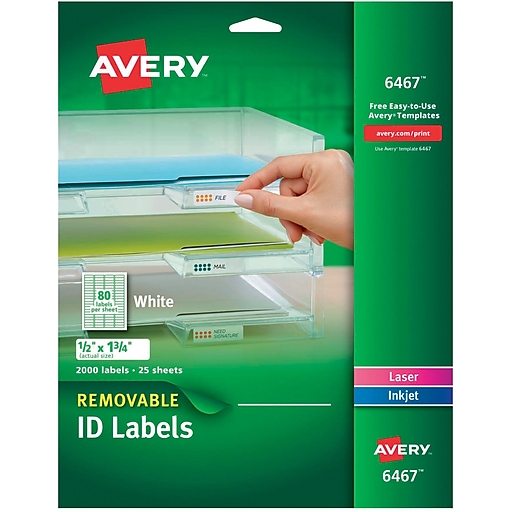 avery 6467 removable inkjet laser labels 1 2 x 1 3 4 2 000 pack