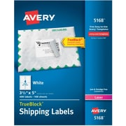 "Avery Laser Shipping Labels with TrueBlock, 3-1/2"" x 5"", White, 400 Labels/Box (05168)"