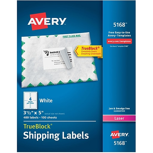 avery 3 1 2 x 5 laser shipping white labels with trueblock 400