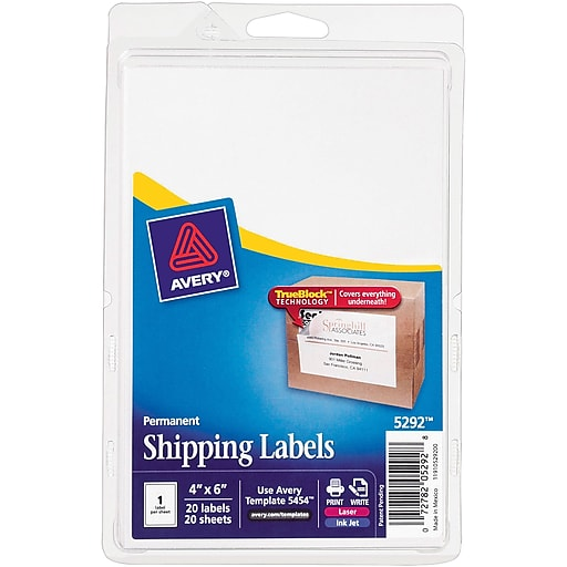 avery 5292 white laser inkjet shipping labels with trueblock 4 x