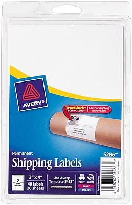 Avery® 5286 White Laser/Inkjet Shipping Labels with TrueBlock, 3