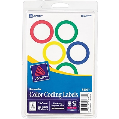 Avery® 5407 Print-or-Write Removable Color-Coding Label