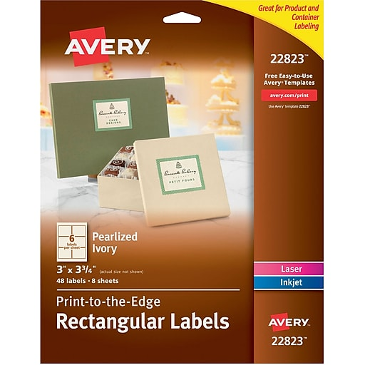 avery print to the edge pearlized ivory rectangle labels 3 x 3 3 4