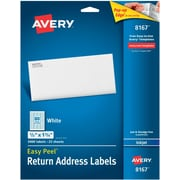 "Avery® 1/2"" x 1-3/4"" Inkjet Return Address Labels with Easy Peel®, White, 2000/Box (8167)"
