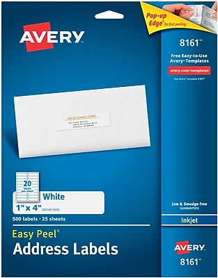 Avery® 8161 White Inkjet Address Labels with Easy Peel®, 1
