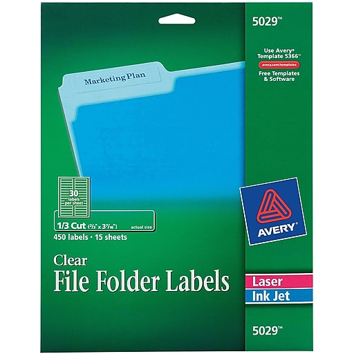 Avery 5029 Clear Permanent File Folder Labels 450pack Staples