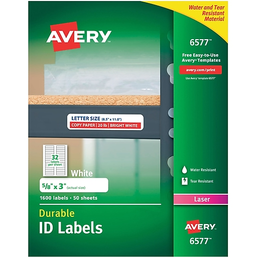 Avery 6577 White Permanent Durable Id Laser Labels 58 X 3