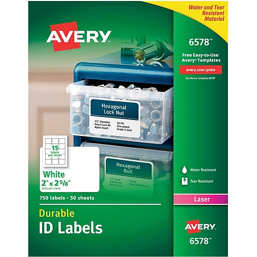 Avery 6578 White Permanent Durable Id Laser Labels 2 X 2 58