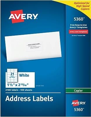 Avery® White Copier Address Labels, 1-1/2