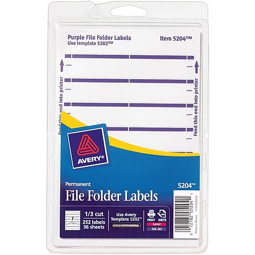 Avery 5204 Print Or Write Purple File Folder Labels 252pack Staples