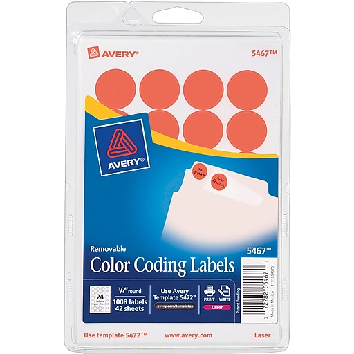 Avery 5467 Round 34 Diameter Print Write Color Coding Labels