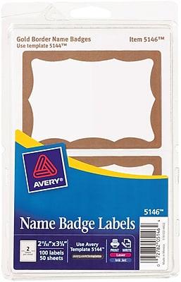Avery 5146 Printable Self-Adhesive Name Tag Label, Gold Border, 2 11/32