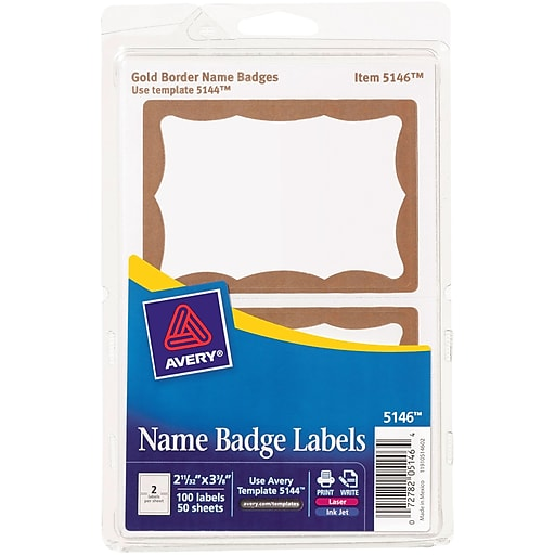 Avery 5146 Printable Self Adhesive Name Tag Label Gold Border 2 11