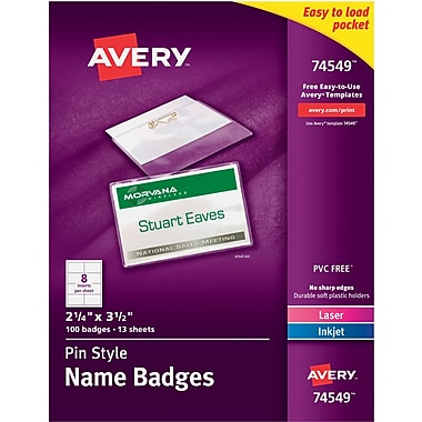 Avery® 74549 Top-Loading Pin-Style Name Badges, 2 1/4