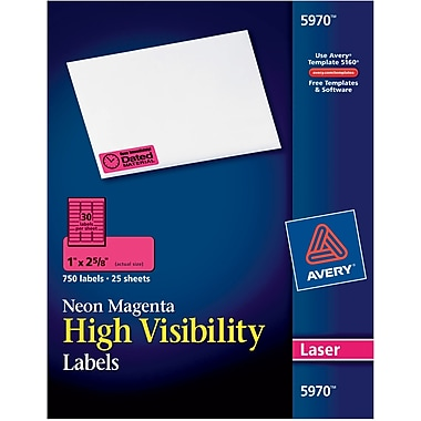 Avery® 5970 Neon Laser Address Labels, 1